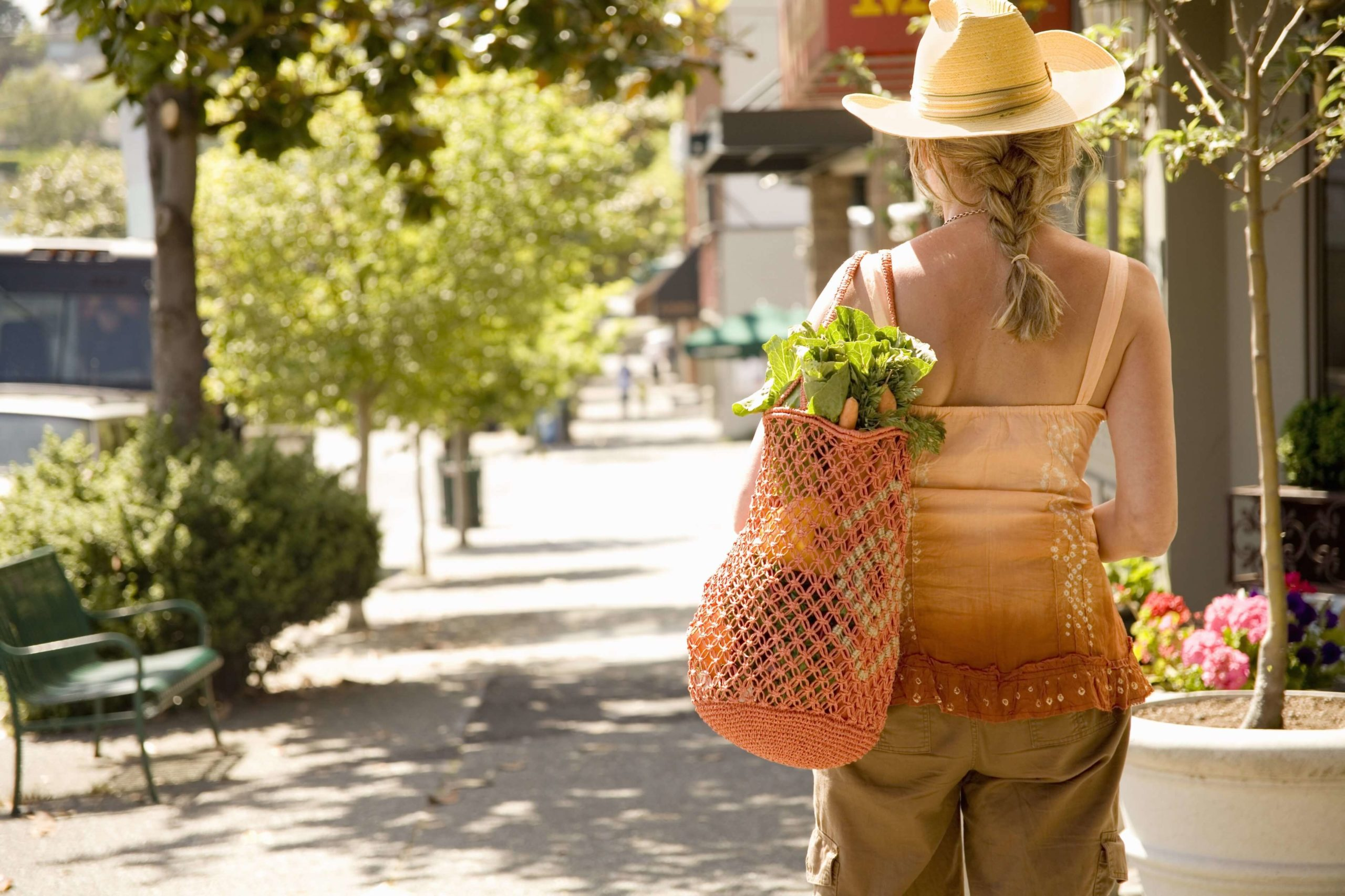 Desert Color Woman Groceries Walk Sidewalk
