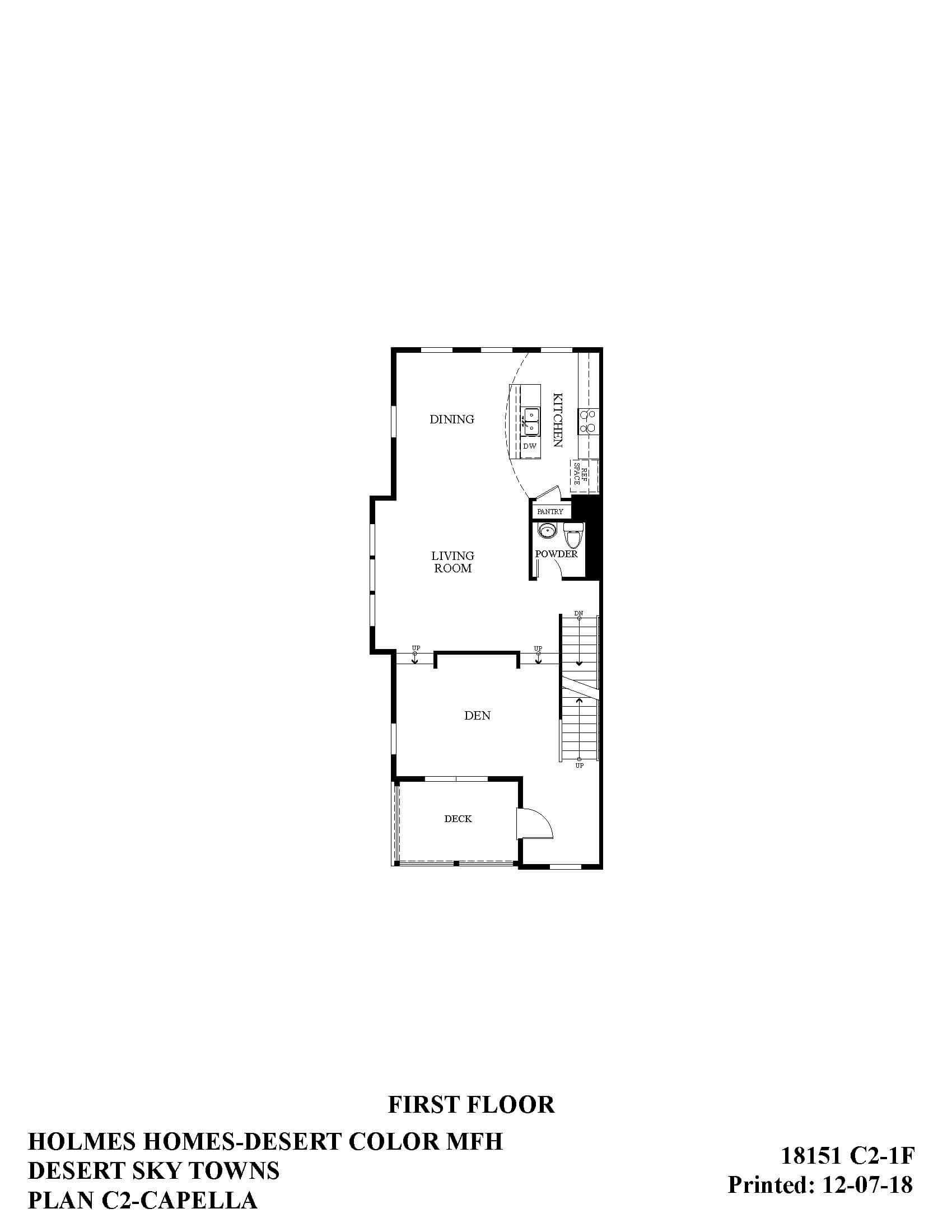 Desert Color Holmes Homes Desert Sky Capella Options First Floor Plan