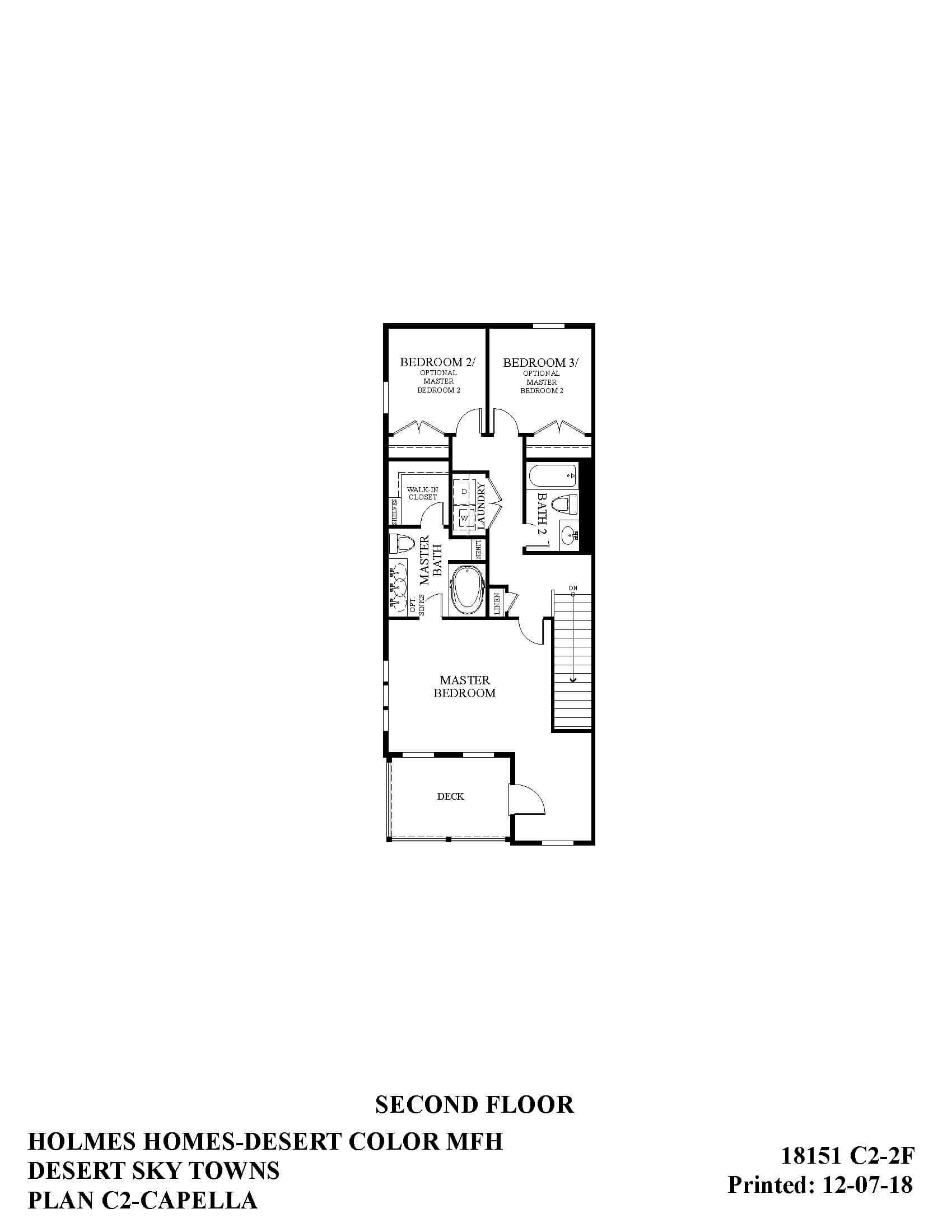 Desert Color Holmes Homes Desert Sky Capella Options Second Floor Plan