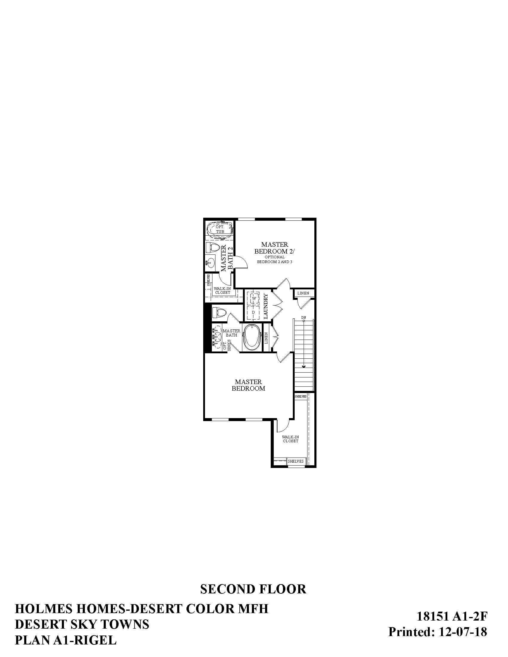 Desert Color Holmes Homes Desert Sky Rigel Second Floor Plan