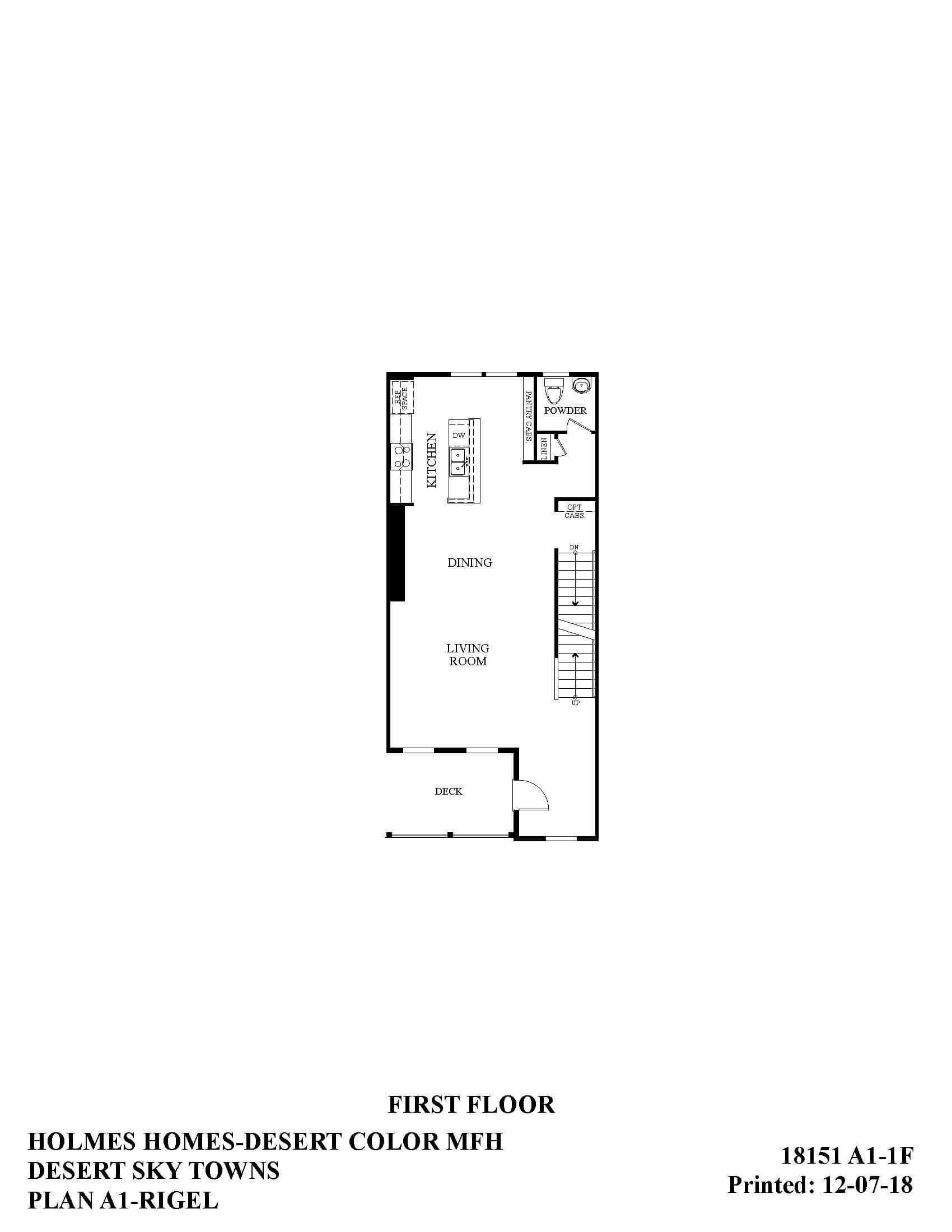 Desert Color Holmes Homes Desert Sky Rigel First Floor Plan