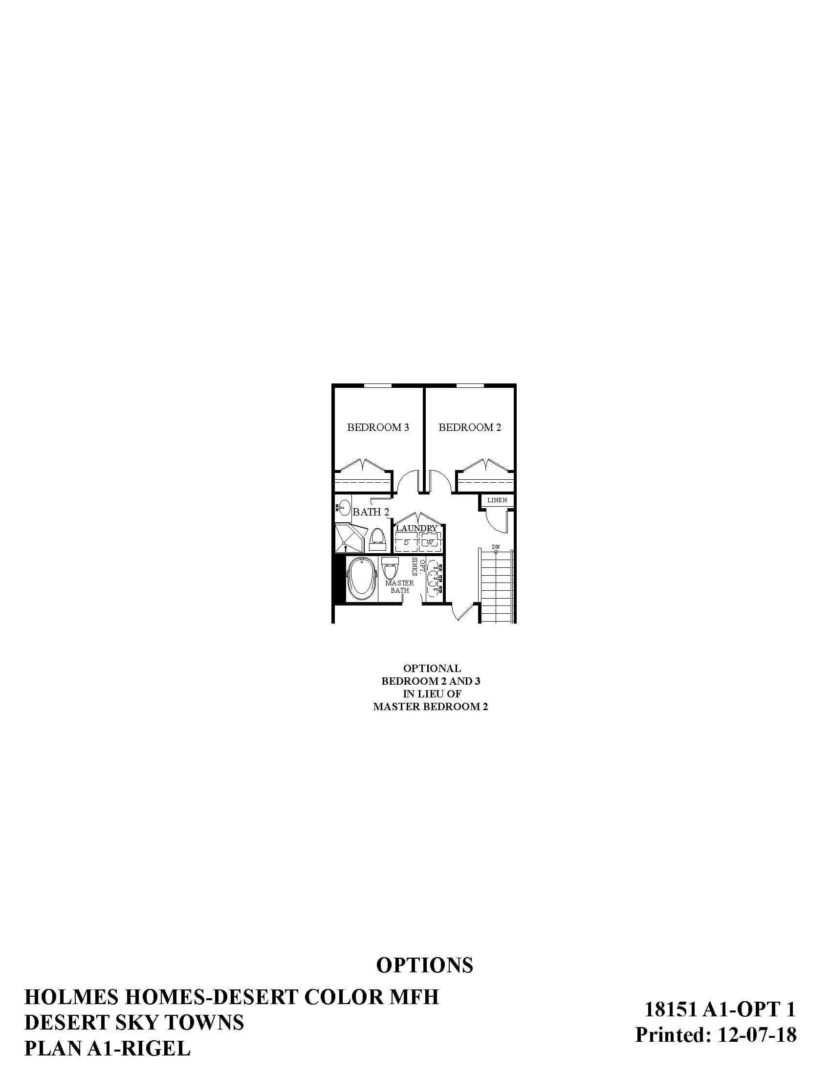 Desert Color Holmes Homes Desert Sky Rigel Options Floor Plan