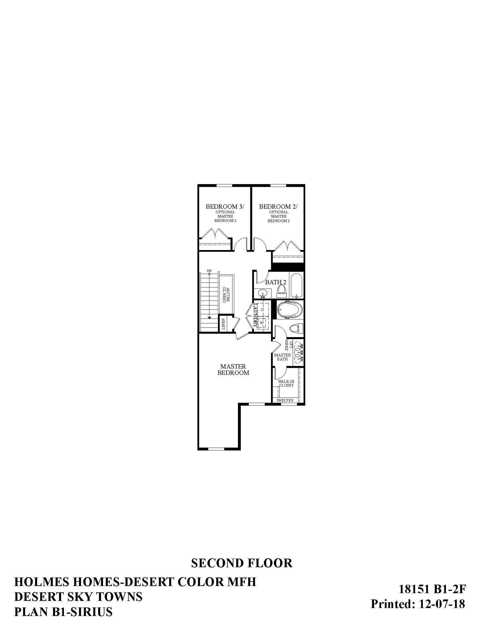 Desert Color Holmes Homes Desert Sky Sirius Options Second Floor Plan