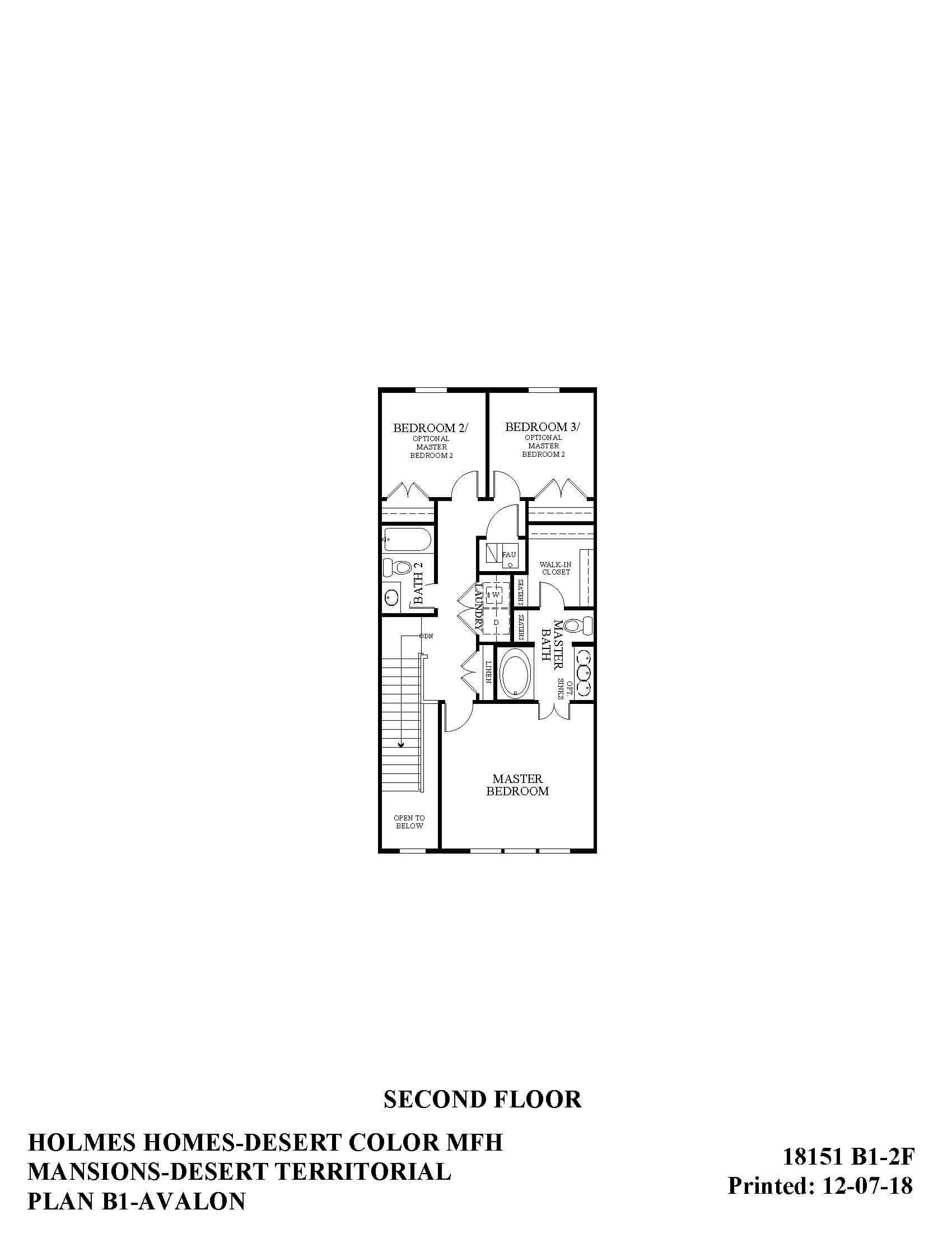 Desert Color Holmes Homes Mansions Avalon Second Floor Plan
