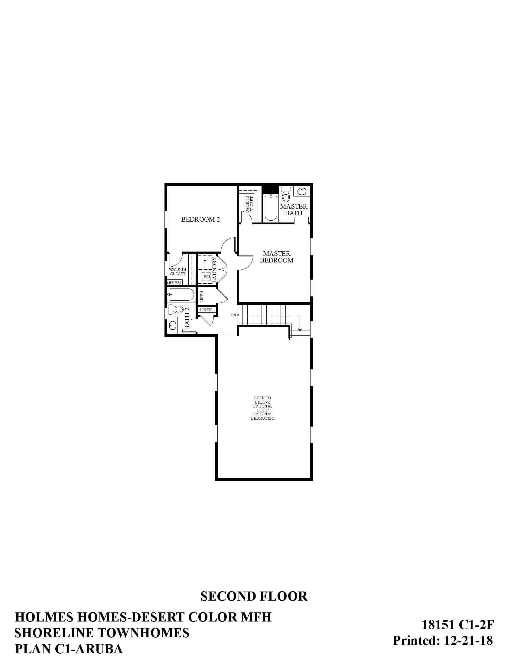 Desert Color Holmes Homes Shoreline Aruba Second Floor Plan