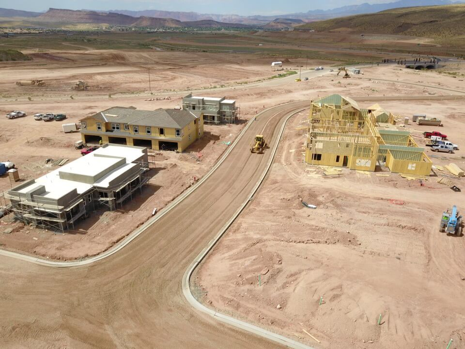 Building Homes Desert Color Construction Aerial View